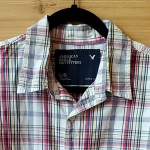 American Eagle Plaid Button Up Shirt Size Large